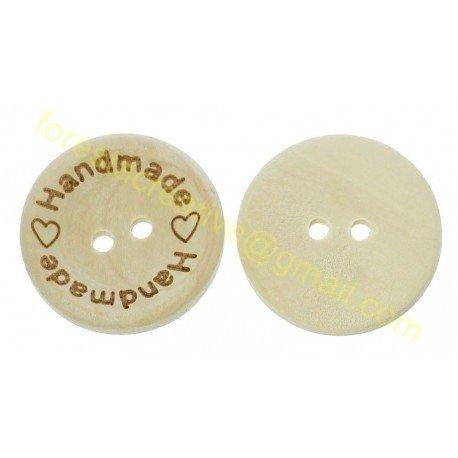 Nasturi Handmade Lemn inima - 25mm -set *5 buc*