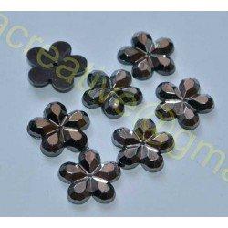 Stras negru-platina, floare 15mm *set 10buc*