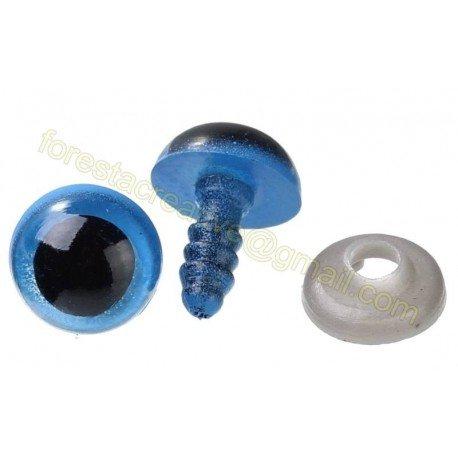 Ochi jucarii, albastru, cu iris - 9mm *5 perechi*