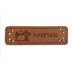 Etichete piele ecologica - Hand Made Model Masina Cusut - 50x15mm