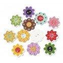 Nasturi Lemn 2cm - Floare - set 10bucati
