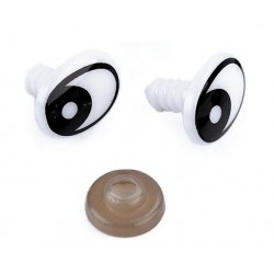 Ochi mari negri pentru jucarii, ovali - 12x16mm *5 perechi*