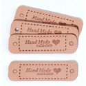 Etichete piele ecologica - Hand Made With Love -55x15mm